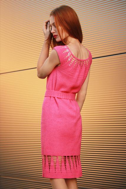 Różowa sukienka z paskiem1